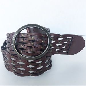 Fossil Woven Leather Belt with Brass Toned Studs